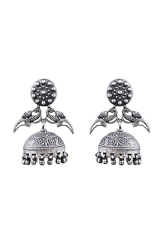 Silver Finish Jhumka Earrings With Ghungroos by Ahilya Jewels
