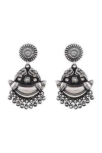 Silver Finish Parrot Chandbali Earrings by Ahilya Jewels