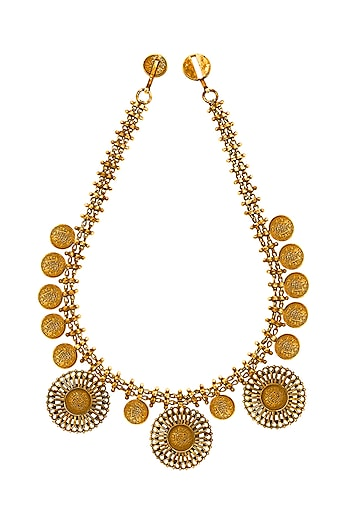 Gold Plated Coin Necklace by Ahilya Jewels