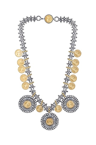 Gold Plated Dual Tone Coin Necklace by Ahilya Jewels