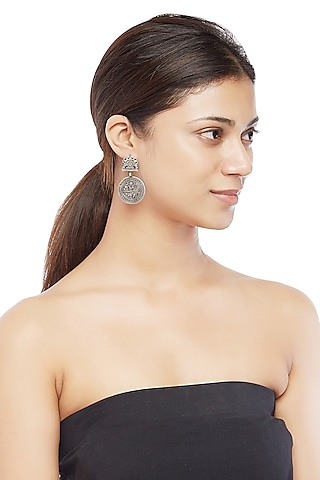 Silver Finish Coin Dangler Earrings by Ahilya Jewels
