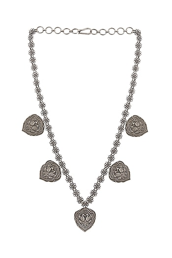 Silver Finish Peacock Necklace by Ahilya Jewels