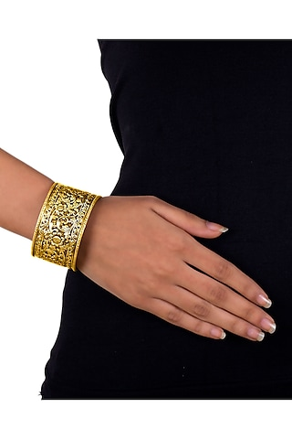 Gold Plated Engraved Cuff Bangle by Ahilya Jewels
