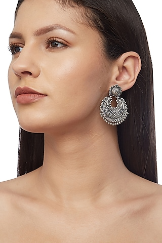 Silver Finish Mahnoor Chandbali Earrings by Ahilya Jewels
