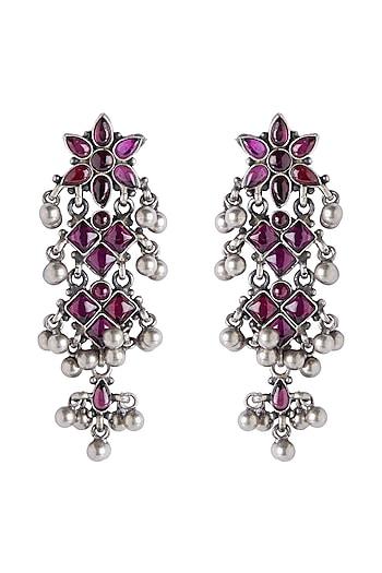 Silver Finish Temple Chandelier Earrings by Ahilya Jewels