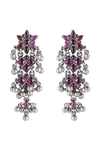 Silver Finish Temple Chandelier Earrings by Ahilya Jewels
