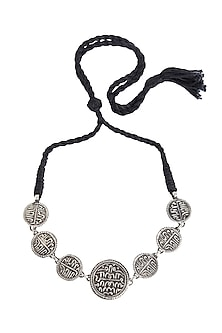 Silver Finish Coin Choker Necklace by Ahilya Jewels