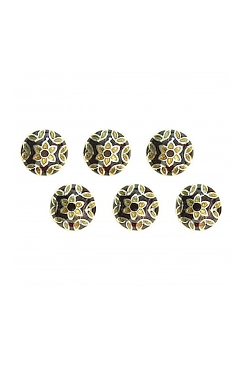 Gold Finish Enameled Sherwani Buttons by Ahilya Jewels
