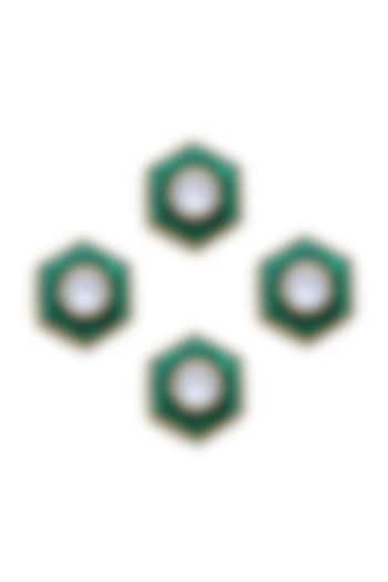 Gold Finish Emerald Green Jadau Kurta Buttons by Ahilya Jewels