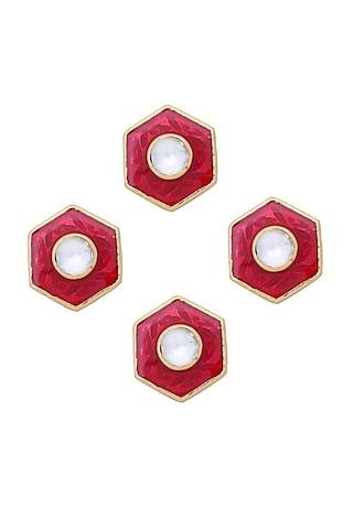 Gold Finish Red Jadau Kurta Buttons by Ahilya Jewels