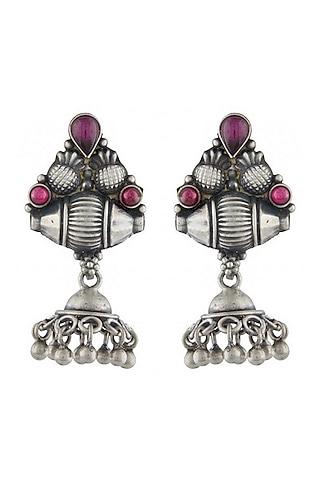 White Finish Jhumka Earrings by Ahilya Jewels