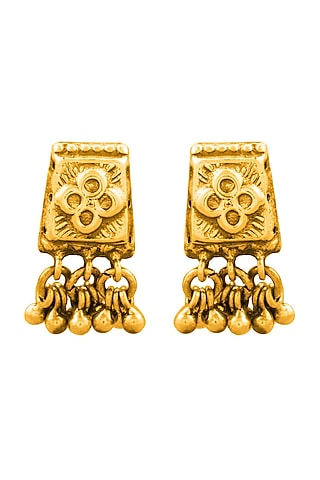 Gold Plated Floral Ghungroo Earrings by Ahilya Jewels