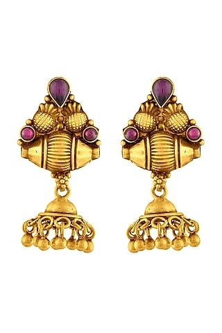 Gold Finish Jhumka Earrings by Ahilya Jewels