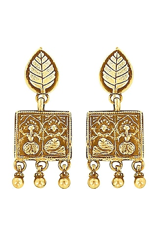 Gold Plated Earrings With Motif by Ahilya Jewels