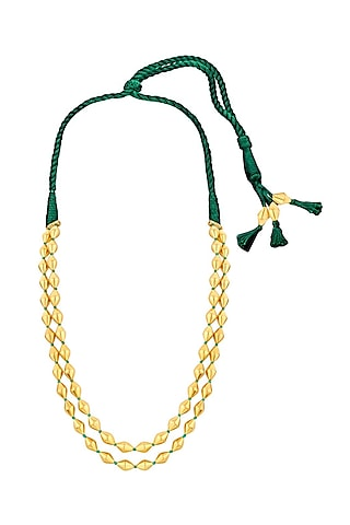 Gold Plated Necklace With Dholki Beads by Ahilya Jewels