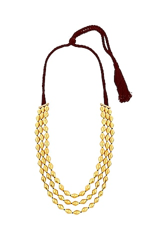 Gold Plated Dholki Beaded Necklace by Ahilya Jewels
