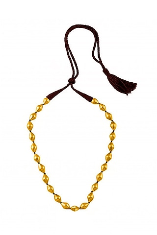 Gold Plated Beaded Single Strand Necklace by Ahilya Jewels