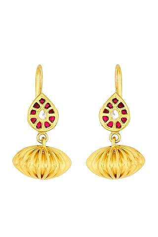 Gold Plated Ruby Glass Stud Earrings by Ahilya Jewels