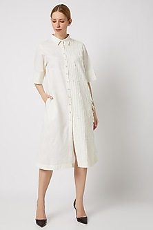 White Long Textured Shirt by Ahmev