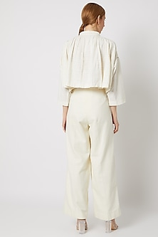 White Shirt With Gathered Shoulders by Ahmev