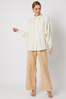 White Shirt With Dolman Sleeves by Ahmev