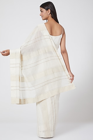 White Striped Saree With Petticoat by Ahmev