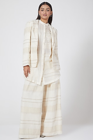 White Block Printed Jacket by Ahmev