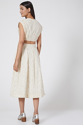 White Pleated Skirt by Ahmev