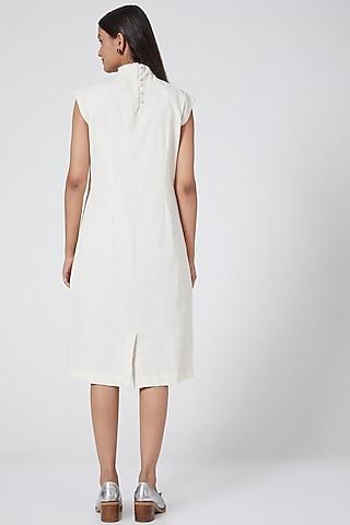 White Block Printed Dress by Ahmev
