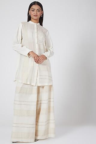 White Striped & Checkered Shirt by Ahmev
