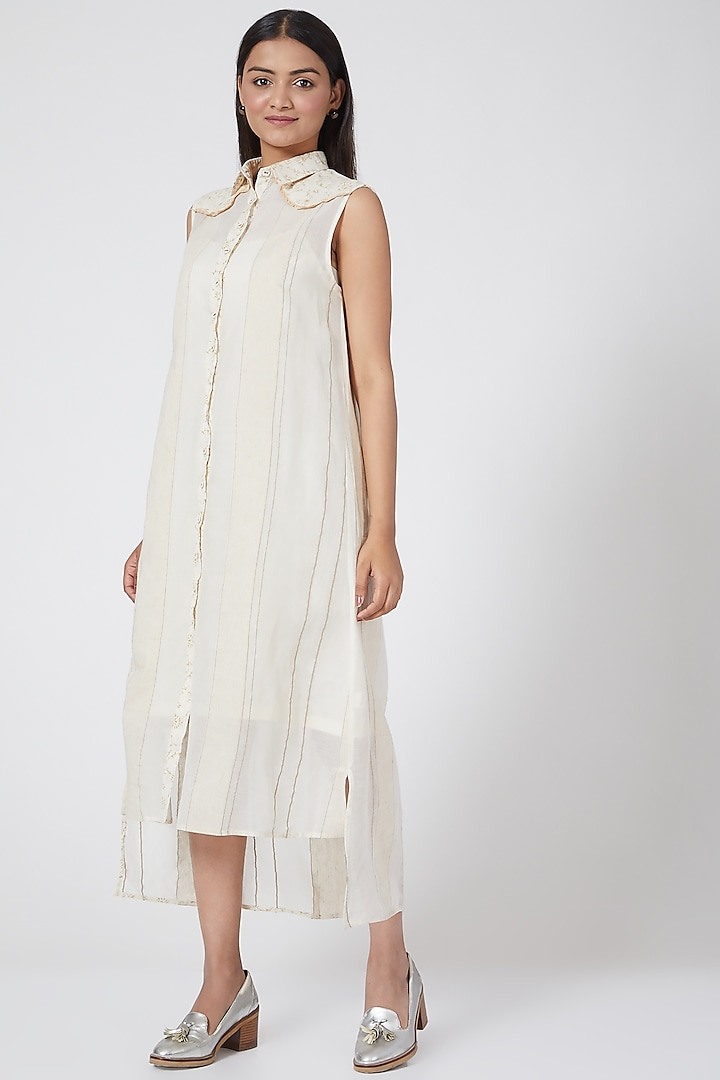 White Printed Dress by Ahmev