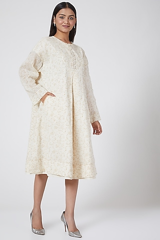White Checkered Dress by Ahmev
