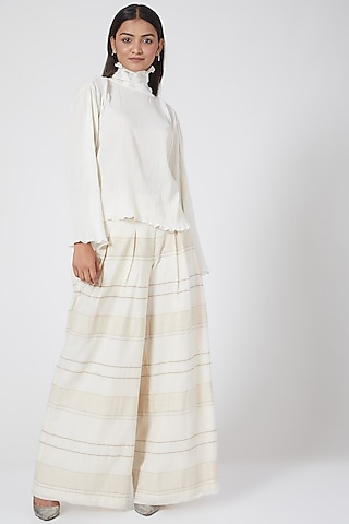 White Pleated & Printed Pants by Ahmev
