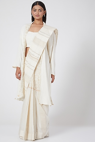 White Block Printed Saree With Petticoat by Ahmev