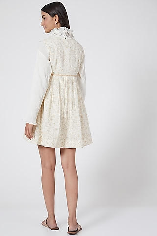 White Checkered Dress With Buttons by Ahmev