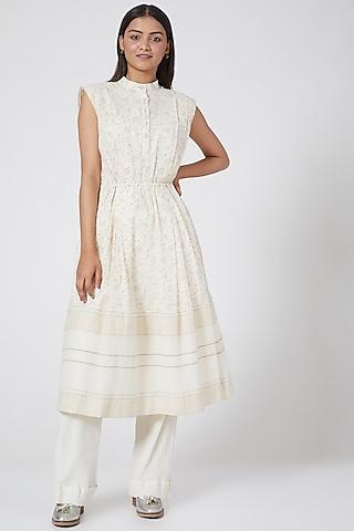 White Checkered & Striped Dress by Ahmev