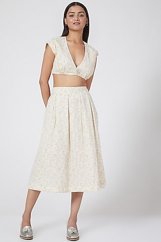 White Checkered Top With Pleats by Ahmev