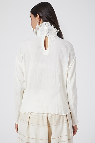 White Pleated Top by Ahmev