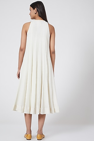 White Block Printed Dress With Crochet Detailing by Ahmev