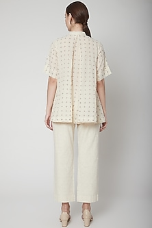 Ivory Checkered Top With Mop Buttons by Ahmev