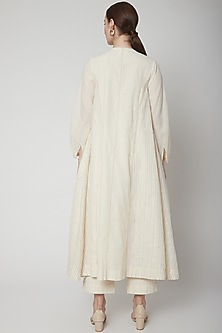 Ivory Angrakha Kurta With Mop Buttons by Ahmev