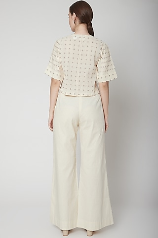 Ivory Checkered Top With Lace Detailing by Ahmev