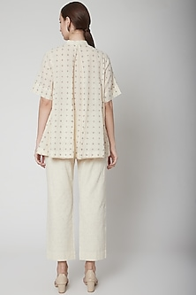 Ivory Ankle Loop Pants by Ahmev