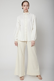 Ivory Shirt With Lace Detailing by Ahmev