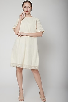 Ivory Dress With Pink Tuck Sleeves by Ahmev