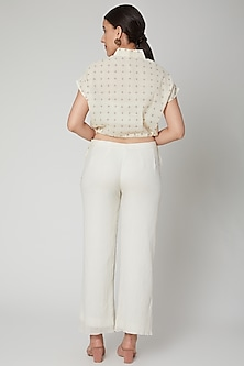 Ivory Checkered Top With Drawstrings by Ahmev