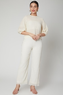 Ivory High-Low Top With Front Opening by Ahmev