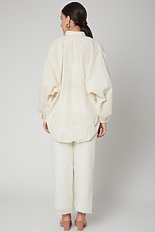 Ivory Shirt With Rainbow Domain Sleeves by Ahmev