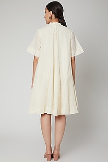 Ivory Paneled Dress With Gold Dots by Ahmev