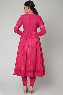 Fuchsia Paneled Anarkali Set by Ahmev